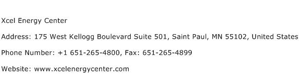 Xcel Energy Center Address Contact Number