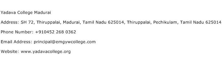 Yadava College Madurai Address Contact Number