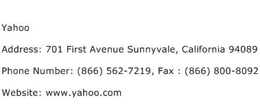 Yahoo Address Contact Number