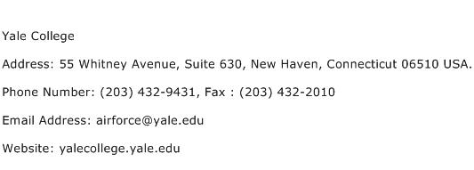 Yale College Address Contact Number