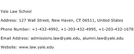 Yale Law School Address Contact Number