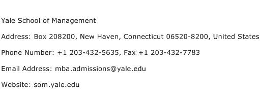 Yale School of Management Address Contact Number