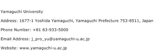 Yamaguchi University Address Contact Number