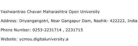 Yashwantrao Chavan Maharashtra Open University Address Contact Number