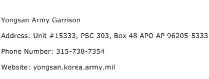 Yongsan Army Garrison Address Contact Number