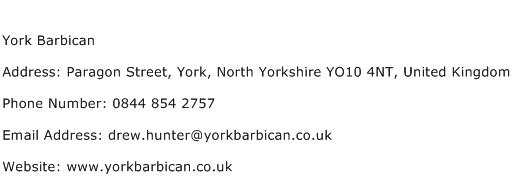 York Barbican Address Contact Number