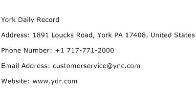 York Daily Record Address Contact Number