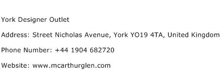 York Designer Outlet Address Contact Number