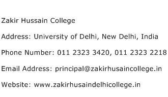 Zakir Hussain College Address Contact Number
