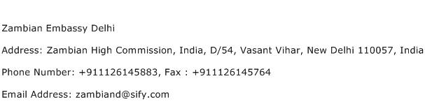Zambian Embassy Delhi Address Contact Number