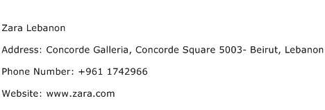 Zara Lebanon Address Contact Number
