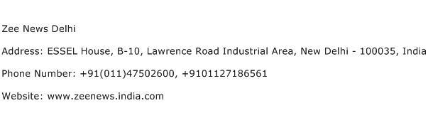 Zee News Delhi Address Contact Number