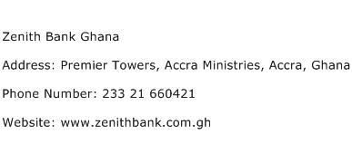 Zenith Bank Ghana Address Contact Number