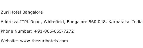 Zuri Hotel Bangalore Address Contact Number