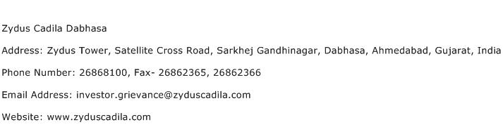 Zydus Cadila Dabhasa Address Contact Number
