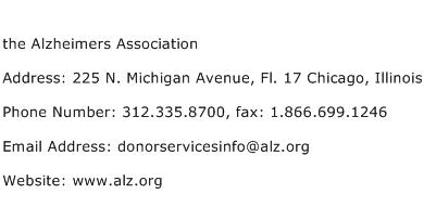 the Alzheimers Association Address Contact Number