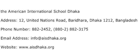 the American International School Dhaka Address Contact Number