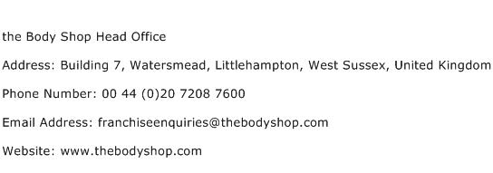 the Body Shop Head Office Address Contact Number