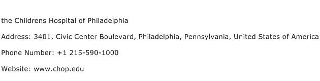 the Childrens Hospital of Philadelphia Address Contact Number