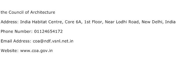 the Council of Architecture Address Contact Number