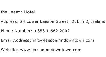 the Leeson Hotel Address Contact Number