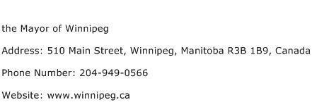 the Mayor of Winnipeg Address Contact Number