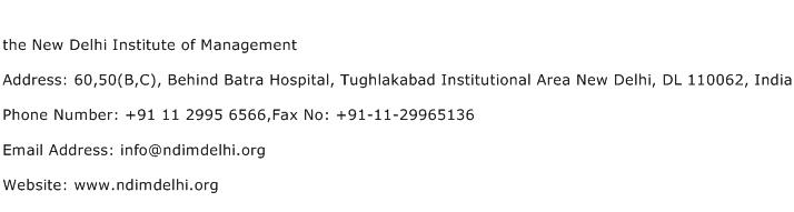 the New Delhi Institute of Management Address Contact Number