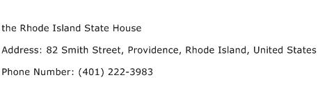 the Rhode Island State House Address Contact Number
